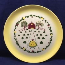 Brock Farmhouse Yellow Dinner Plate Hay Wagon B... - $14.99