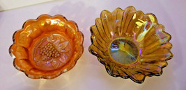 "GOLD IRIDESCENT PATTERN GLASS Bowl candy dish Sunflower BUTTON STAR 6"" C... - $24.74"