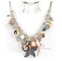 Pearl Seahorse Maui Starfish Shell Beach Turtle Ocean Charm Resort Necklace Set - $20.21