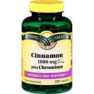 Spring Valley Cinnamon Chromium Dietary Supplement 180 Capsules 1000mg