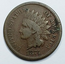 1874 Indian Head Cent Penny Coin Lot 519-99