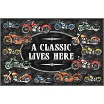 """A Classic Lives Here Indoor Outdoor 17"""" x 30"""" Door Mat with Motorcycle D... - $22.85"""