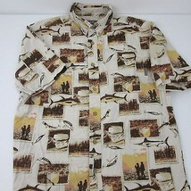 Woolrich Sunset Fishing Marlon Tuna Lures Photo Button Up S/S Shirt Mens... - $19.15