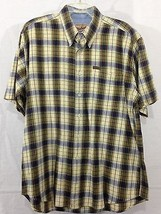Mens Woolrich Short Sleeve Yellow Plaid Checks Button Up Shirt sz L - $17.03