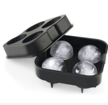 Whiskey Cocktail Ice Cube Tray 4 Large Mold Silicone Ice Ball Maker Large Ice  - $9.99
