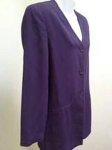 Ann Taylor 6 Jacket Purple Ribbed Silk V Neck Long Sleeves - $23.49