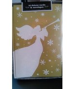 Golden and White Angel Deluxe Holiday Chistmas Cards 16 Cards and Envelopes - $9.89