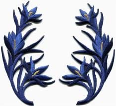 Royal blue trim fringe flower retro boho applique iron-on patches pair S... - $3.75