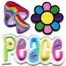 Lot of 3 peace sign mushroom flower hippie retro applique iron-on patches P-5 - $4.94