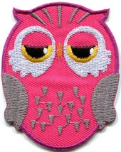 Owl bird of prey hoot animal wildlife pink applique iron-on patch new S-328 - $2.95