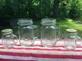 Vtg Golden Harvest Glass Jar Drinking Mugs Hand... - $9.89