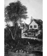 ENGLAND Scenery near Norwich Houses Stream Ducklings - 1876 ETCHING Print - $35.96
