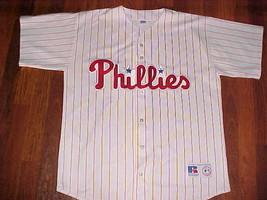 Russell Athletic MLB NL 1992 Philadelphia Phillies Script White Stripe J... - $69.29