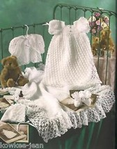 Christening Sets for baby girl (NB-3mo) or boy (3-24mo): pattern booklet - $29.33