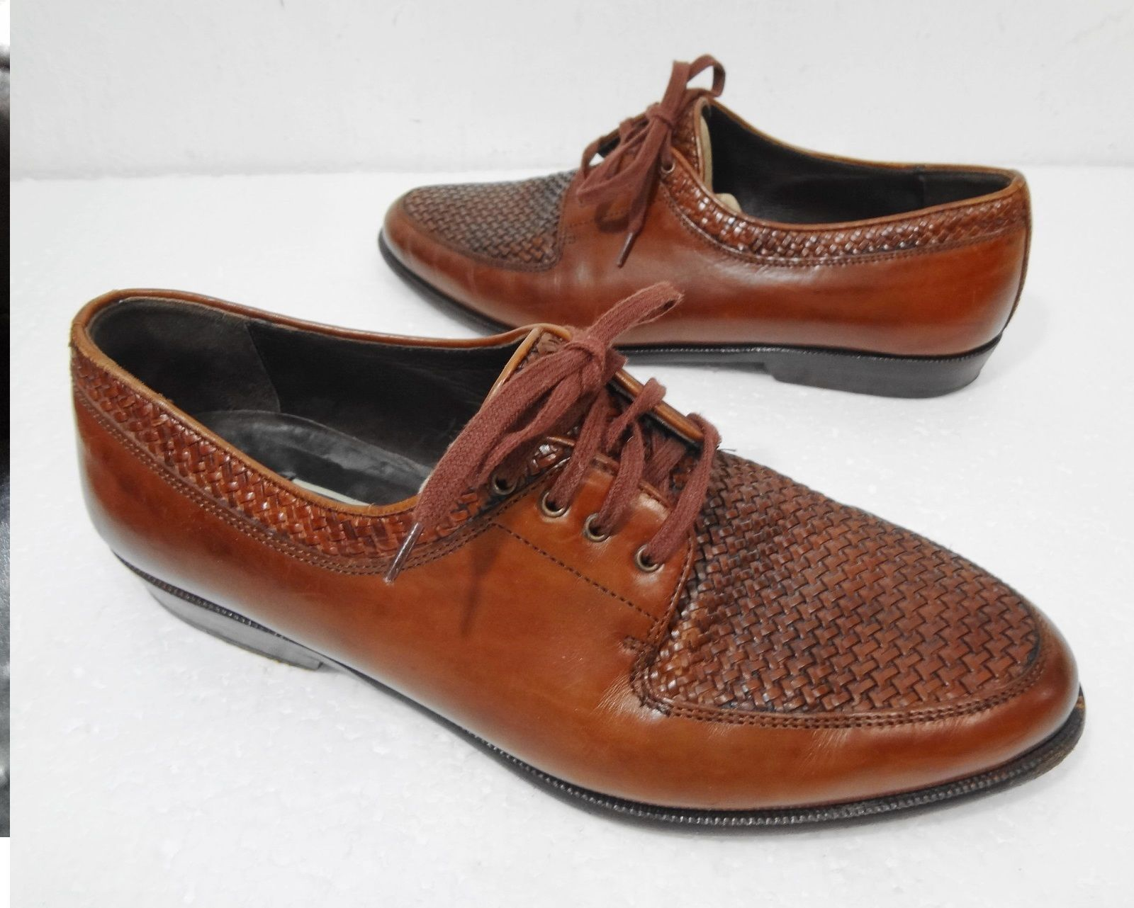 994a6f15ac9 S l1600. S l1600. Previous. Bragano Cole Haan Mens 7 M Carmel Brown Woven  Leather Oxford Shoes Made ...