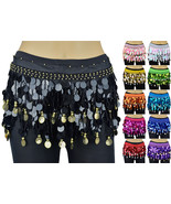 Solid Sequins Beads Belly Dance Hip Scarf Wrap Chiffon Gold Silver Coins - $9.99