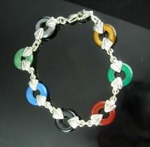 Vintage JADE Bracelet sterling heart fleur de lis oriental Good luck chi... - $125.00