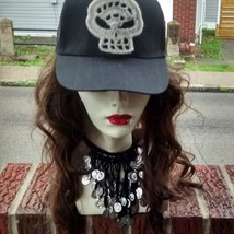 Black baseball hat with fine lace Crochet skull applique One size fits most - $25.00