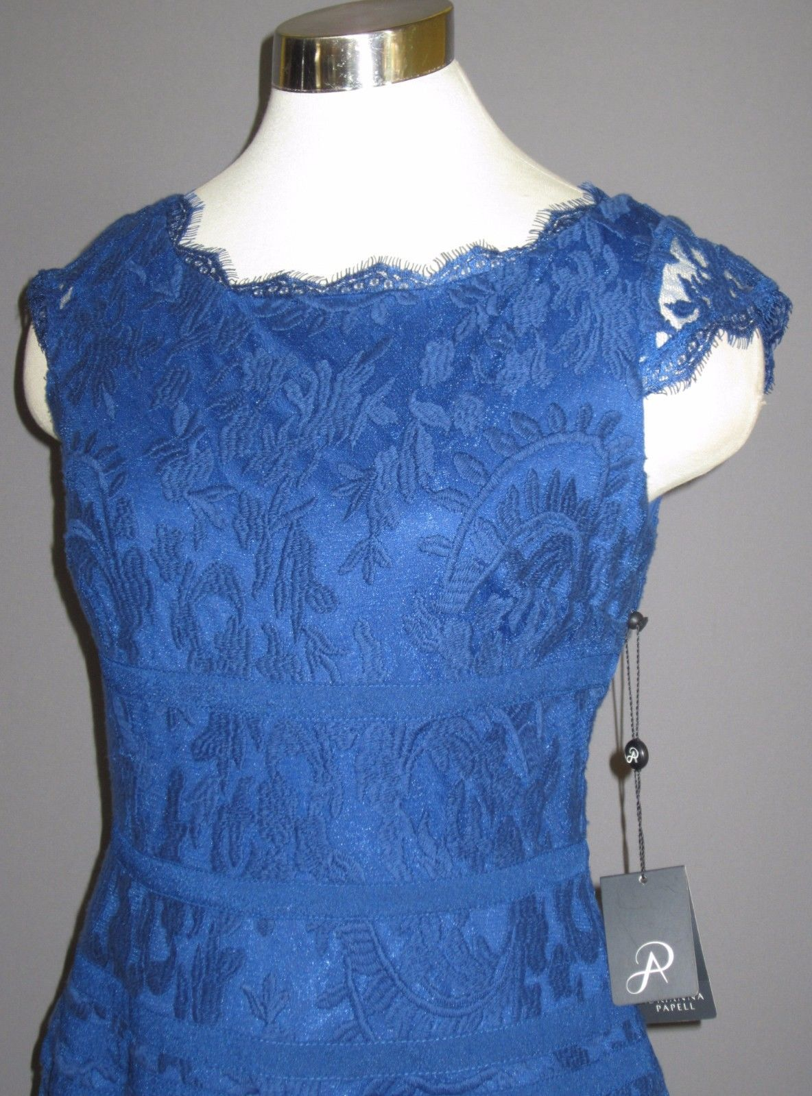 12 ADRIANNA PAPELL Nile Blue Cap Sleeve Lace Fit & Flare Cocktail Dress NWT $180