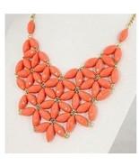 Coral Bubble Necklace Statement Bib Flower Women - $9.89