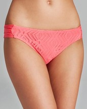NEW BECCA by Rebecca Virtue Just A Peak Tab Bikini Bottom Swimwear Coral Tart XL - $5.93