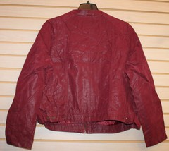 NEW WOMENS PLUS SIZE 3X 22/24 BURGUNDY MOTORCYCLE MOTO  FAUX LEATHER JAC... - $38.69
