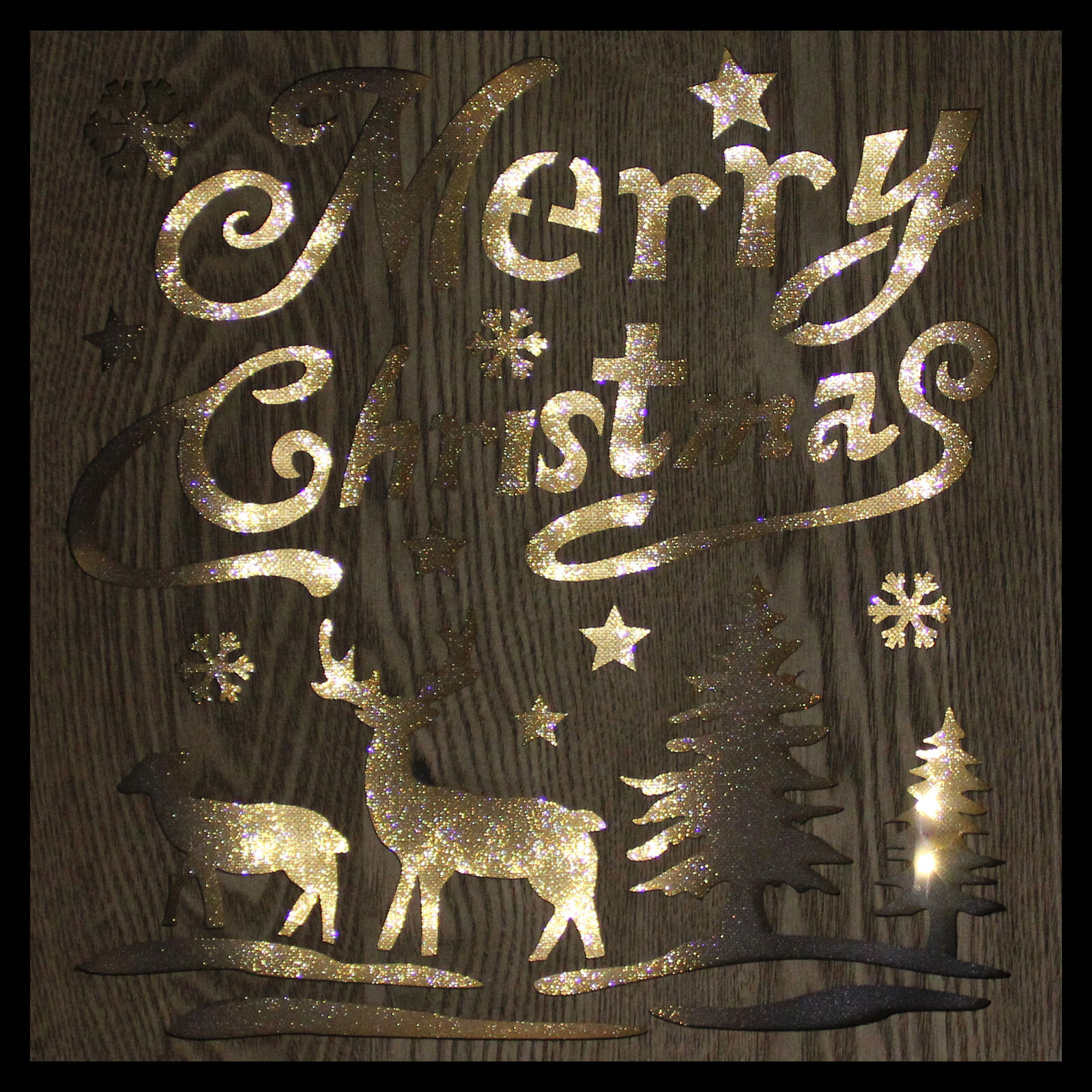 """Diva At Home 12"""" Lighted Wooden """"Merry Christmas"""" Christmas Wall Decoration"""