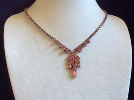 "VTG Pink crystal Rhinestones silver tone Necklace 16"" L - $64.35"