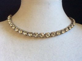 "VTG Clear brilliant cut crystal Rhinestones silver tone Necklace 15"" L - $38.61"