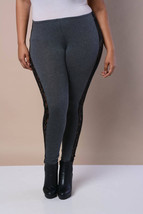 New Womens Charcoal Gray Grey Sexy Tight Leggings Pants With Lace Down The Sides - $19.33