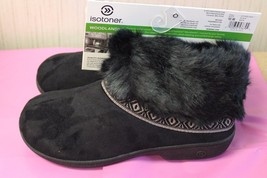 New Womens Size 8.5 9 Black Isotoner Microsuede Faux Fur Clog House Slippers - $19.34