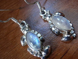 Moonstone Floral Accents Silver Dangle Earrings New - $17.81