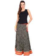 Black & White stripes Jaipuri skirt with Orange Border  - SNY18242 - $26.00