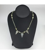 "14.1g,2mm-26mm, Small Green Nephrite Jade Arrowhead Beaded Necklace,19"",... - $4.75"