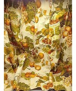 Vintage Drape Valance pinch pleat panels Harvest gold grapes pineapple f... - £36.08 GBP