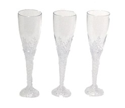 "12 Clear Plastic Clear Bottom Champagne Flutes 8"" tall drinking glasses ... - £9.78 GBP"