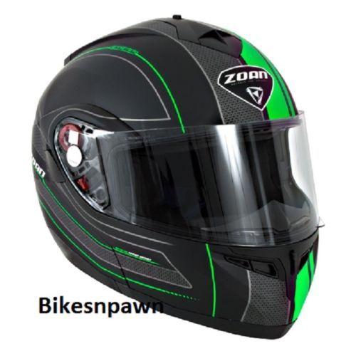 New XS Zoan Optimus Black & Green Raceline Modular Motorcycle Helmet 138-153