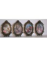 Vintage Frames Oval Regency Style Courting Lot of 4 Metal Italy Shell Sm... - $40.00