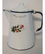 Vintage Enamelware Pitcher Mexico Floral Blue White / Country Kitchen - $35.00