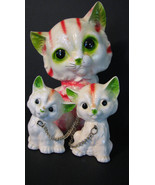 Vintage Mother Cat and Kittens Keane Style Big Eyes/ Japan Cat Figurines... - $35.00