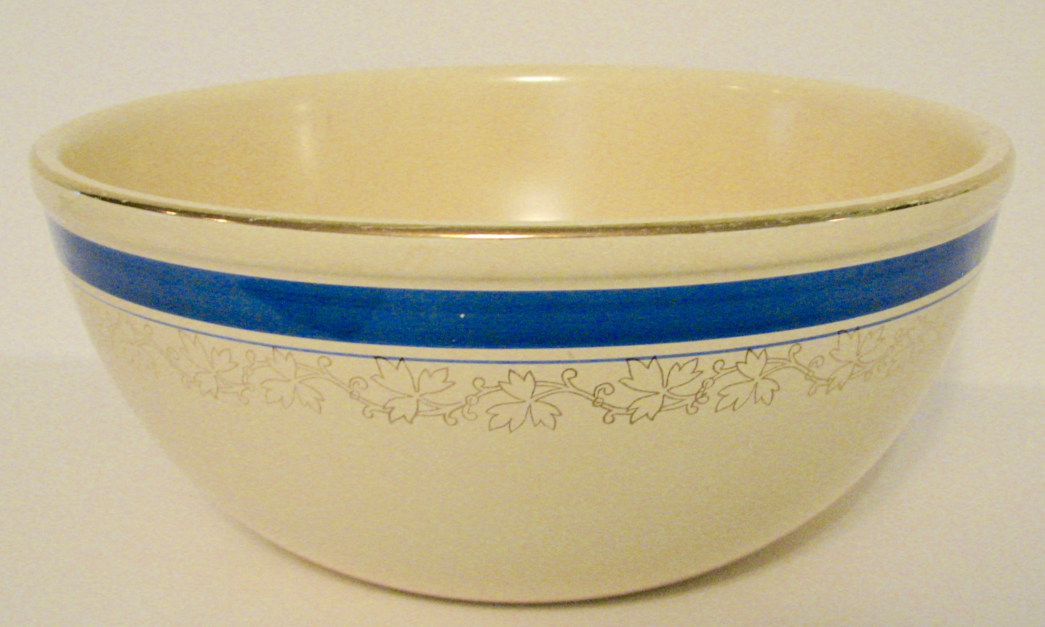 Vintage Mixing Bowl Blue Band Kitchen Craft Jewel Tea Country