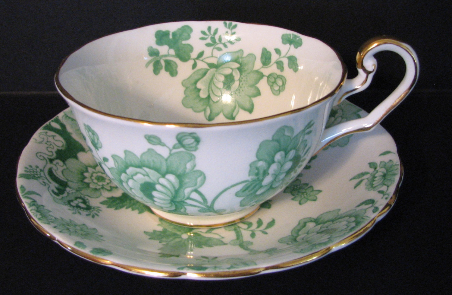 Vintage 1920s Victoria Mandarin Chintz Cup and Saucer Green