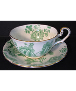 Vintage 1920s Victoria Mandarin Chintz Cup and Saucer Green - $68.00