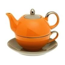 Yedi Housewares Siena Tea For One Teapot & Cup Orange & Light Grey - $28.05