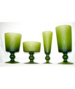Vintage Barware Morgantown 1960s Mad Men Moss Green Set 4 Glasses - $60.00