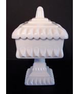 Vintage Jeannette Shell Pink Compote Wedding Pink Milk Glass Covered Com... - $32.00