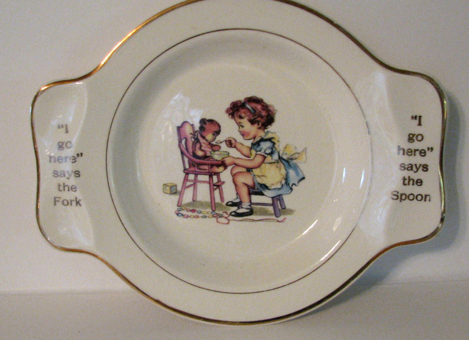Vintage Salem 1940s Feeding Dish China Teddy Bear Girl Childrens.