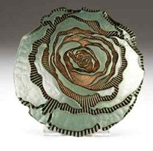 Red Pomegranate Rose Canape Plate Turquoise & Gold - $19.64