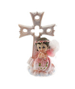 Communion Christening Baptism Girl Praying Angel Cross & Bible Statue Ca... - $12.82