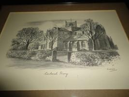 Original Art UK Artist JUDGES Pencil Sketch Cartmel Priory Cumbria Framed image 2